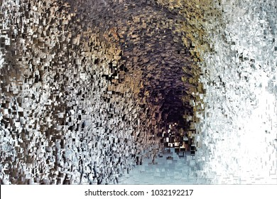 vision after death, tribute to Pollock, abstract expressionism, art, digital, abstract illustration with mosaic effects of gradient colors white, ochre, grey, black,
