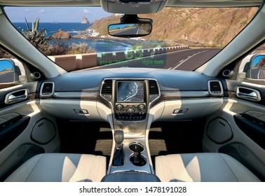 Die Vision der autonomen, luxuriösen Inneneinrichtung SUV.Futuristic Auto Cockpit.Autonome Autos. fahrerloses Fahrzeug - 3D-Illustration