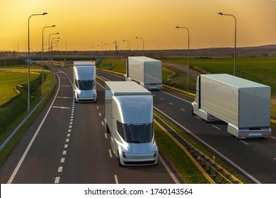 Ansicht des autonomen Verkehrs auf der Autobahn.3d Abbildung.