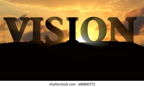 Vision on sunset landscape 3d rendering