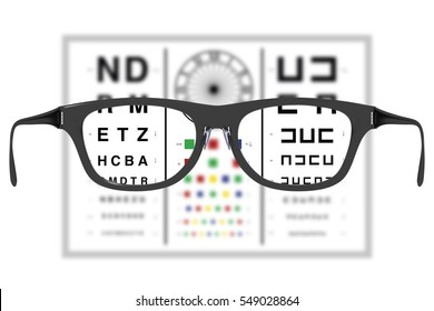 vision test with a par of spectacles or eyeglasses offering a clear and sharp vision on the vision test. Ophtalmology and healthcare concept. 3d render, 3d illustration