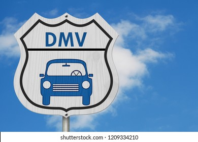 Visit to the DMV Highway Sign, Icon of a car and text DMV on a highway sign isolated with sky background 3D Illustration