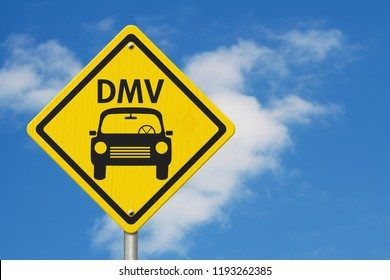 Visit to the DMV Highway Warning Sign, Icon of a car and text DMV on a yellow highway sign with sky background 3D Illustration