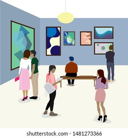 Visit gallery, woman looking at modern painting, art gallery wall, art exhibition event. museum gallery, art abstract exposition illustration