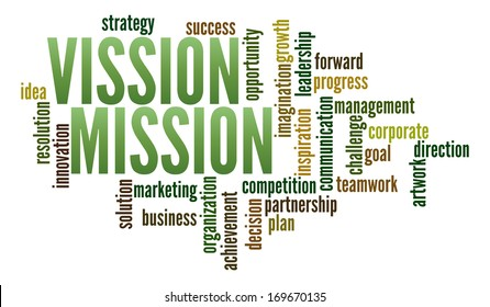 Vission and Mission  in word collage