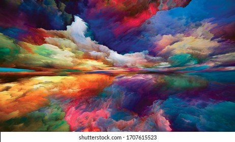 Vistas of Color. Escape to Reality series. Interplay of surreal sunset sunrise colors and textures for landscape painting, imagination, creativity and art
