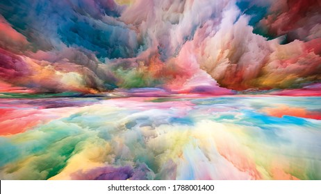Vistas of Color. Escape to Reality series. Visually pleasing composition of surreal sunset sunrise colors and textures for subject of landscape painting, imagination, creativity and art