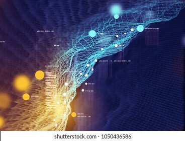 Visual Data and Information displayed in a futuristic graph. 3D Illustration