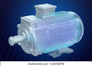 Visualization 3d cad model of electric motor, 3D rendering