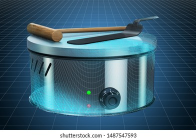 Visualization 3d cad model of pancake maker or crepe maker, blueprint. 3D rendering