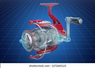 Visualization 3d cad model of spinning reel, 3D rendering