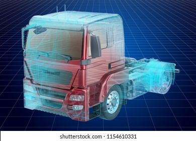 Visualization 3d cad model of truck, blueprint. 3D rendering