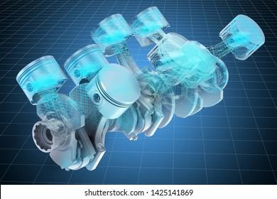 Visualization 3d cad model of V8 engine pistons, blueprint. 3D rendering