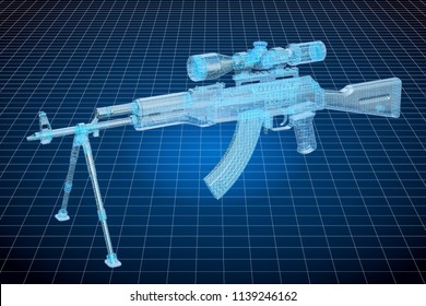 Visualization 3d cad model of weapon, military engineering concept. 3D rendering