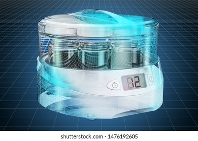 Visualization 3d cad model of yogurt maker, blueprint. 3D rendering