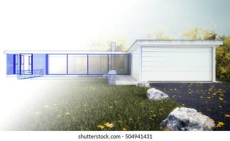 Visualization of a House - 3D rendering - Sketch