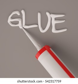 Visualization of silicone glue gun isolated on dark background. 3d rendering