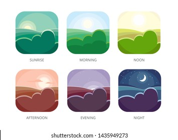 Visualization of various times of day. Morning, noon and night. Flat style illustrations. Sunrise and afternoon, evening landscape