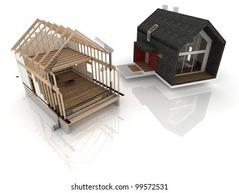 visualization of wooden house during project. Before and after constructing