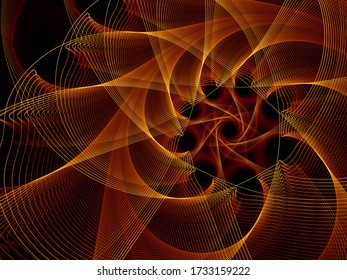 Visualizing Mathematics series. Golden Lines of Fractal Universe. Intricate render of virtual topology for scientific, education and technological backgrounds.