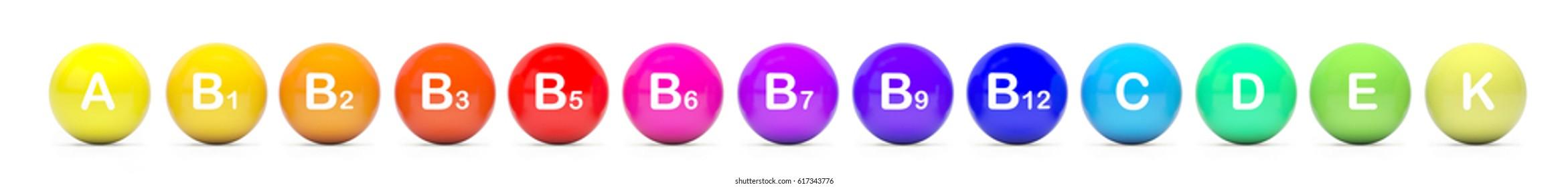 Vitamin a, b1, b2, b3, b5, b6, b7, b9, b12 , c, d, e, k. 3d-Illustration  Isolated on white background.