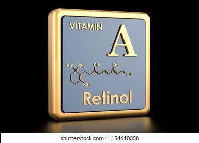 Vitamin A, retinol. Icon, chemical formula, molecular structure. 3D rendering