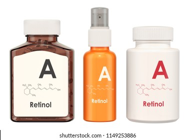Vitamin A, retinol. Medical bottles with pills and spray bottle, 3D rendering isolated on white background