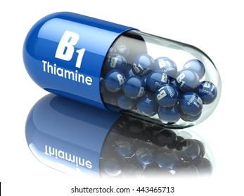 Vitamin B1 capsule. Pill with thiamine. Dietary supplements. 3d illustration