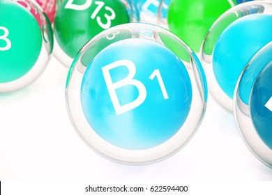 Vitamin B1, group of organic substances, food additive, isolated, on white background, 3d rendering