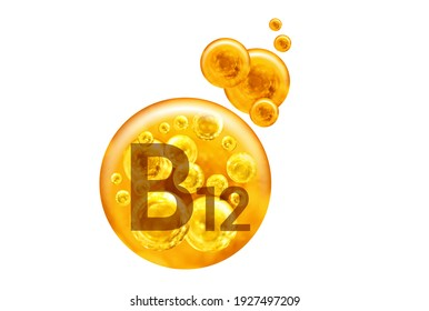 Vitamin B12 capsule. Golden balls with bubbles isolated on white background. Healthy lifestyle concept.