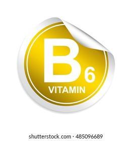 Vitamin B6 sticker, button, label and sign.