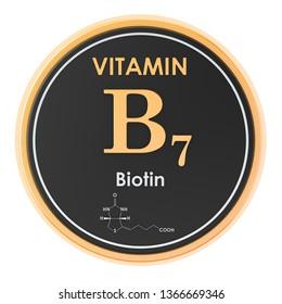 Vitamin B7, biotin. Circle icon, chemical formula, molecular structure. 3D rendering