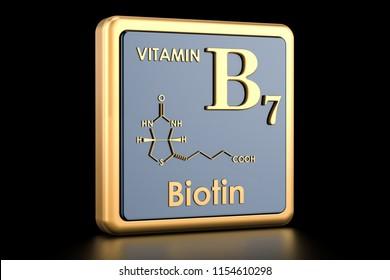 Vitamin B7, biotin. Icon, chemical formula, molecular structure. 3D rendering