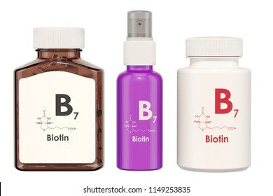 Vitamin B7, biotin. Medical bottles with pills and spray bottle, 3D rendering isolated on white background