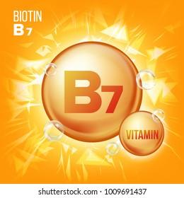Vitamin B7 Biotin.  Organic Vitamin Gold Pill Icon. Medicine Capsule, Golden Substance. For Promo Ads Design.  Complex With Chemical Formula. Illustration