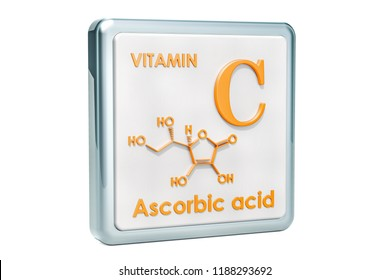 Vitamin C, ascorbic acid. Icon, chemical formula, molecular structure on white background. 3D rendering