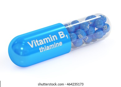 Vitamin capsule B1, 3D rendering isolated on white background