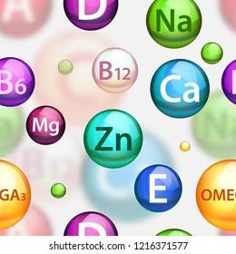 Vitamin complex pharmaceutical pattern. realistic medical vitamins and minerals color balls softgels.