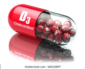 Vitamin D3 capsule or pill. Dietary supplements. Cholecalciferol. 3d illustration