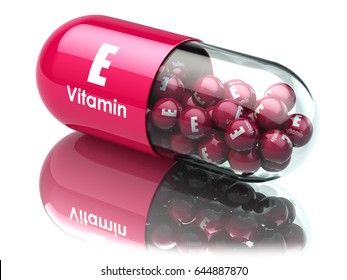 Vitamin E capsule or pill. Dietary supplements. 3d illustration.