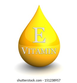 Vitamin E, Isolated On White Background. 3d illustration