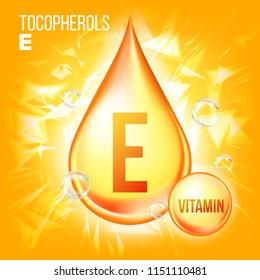 Vitamin E Tocopherols. Vitamin Gold Oil Drop Icon. Organic Gold Droplet Icon. Medicine Liquid. For Beauty, Cosmetic, Heath Promo Ads Design. Illustration