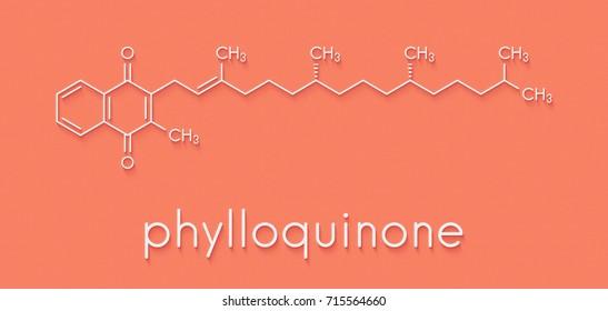 Vitamin K (K1, phylloquinone, phytomenadione) molecule. Skeletal formula.