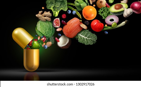 Vitamin supplement nutrition as a capsule with fruit vegetables nuts and beans inside a nutrient pill as a natural medicine health treatment with 3D illustration elements.