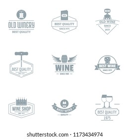 Viticulture logo set. Simple set of 9 viticulture logo for web isolated on white background