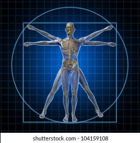 Vitruvian human skeleton man and body with as a frontal Leonardo Da Vinci like anatomy pose for health care and medicine icon on a black background.