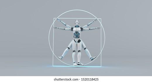 The vitruvian humanoid robot on the gray background. 3d illustration.