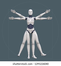 Vitruvian man, cyborg. 3D illustration