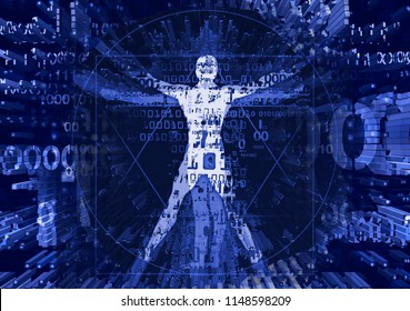 Vitruvian man in explosion of computer data. Illustration of vitruvian man with a binary codes symbolized digital age.