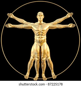 vitruvian man from gold. isolated on black.